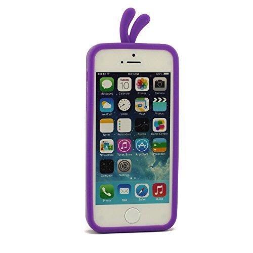 Silicone Type iPhone 5S Coque, Housse de Protection pour iPhone 5C, Charmant Canard Conception Coque de protection + Gratuit Silicone Support Outil, Compact Coque Pourpre