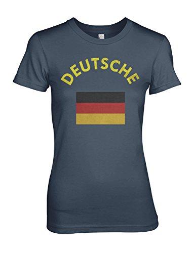 Deutsche Deutschland Germany German Flag Damen T-Shirt Blau