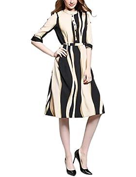 HJMTRY Simple Moda Multi Color Siete Minuto manga A-línea de falda Slim Fit Mujer , black , s