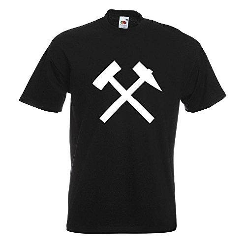 KIWISTAR - Bergbau - Glück auf! - Kumpel T-Shirt in 15 verschiedenen Farben - Herren Funshirt bedruckt Design Sprüche Spruch Motive Oberteil Baumwolle Print Größe S M L XL XXL Schwarz