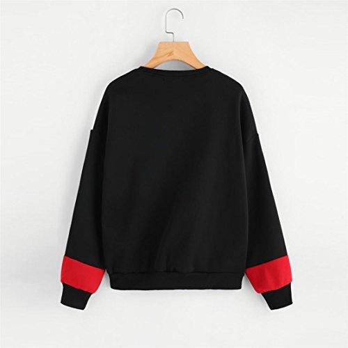 Bluestercool Magliette Donna Maniche Lunghe T-Shirt Felpe Senza Cappuccio Casual Rosso