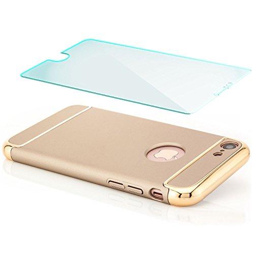 Saxonia iPhone 8 / 7 Hülle + Panzerglas Case Cover Ultra TPU Slim Backcover Schale + Rahmen mit extra Kantenschutz Silber Gold