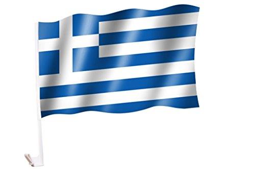 2 Stück/1 Paar Autoflagge/Autofahne Griechenlandv/ Greece / Elláda - Fahne / Flagge für Auto 2x - car flag
