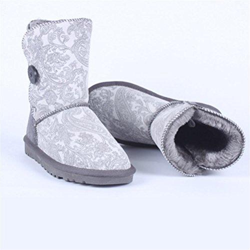 QPYC Stivali da donna con gli stivali da neve Stivali rotondi di cotone con taglio rotondo Una fibbia tendine di grandi dimensioni alla fine delle scarpe gray tail