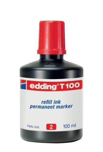 edding T100 Permanentmarker Nachfülltinte - Inhalt: 100ml - Farbe: rot - Tusche für edding...