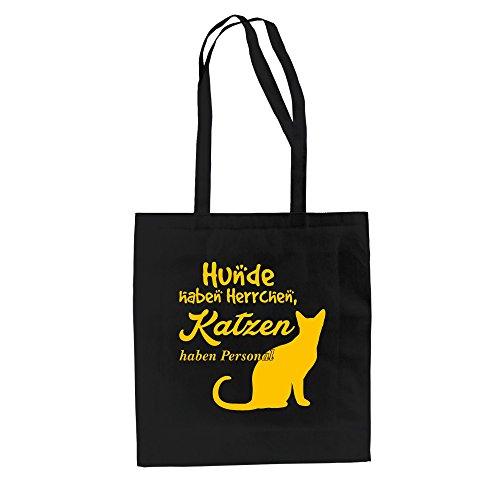 Baumwolltasche Jutebeutel -- Hunde haben Herrchen, Katzen haben Personal weiss-cyan