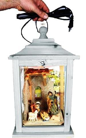 Weihnachtskrippe, mit Figuren, Laterne Holz, mit Beleuchtung 220V, Laterne aus Holz KL-MFOS-HELLGRAU aus Holz hell grau weiss weiß amazon silbergrau
