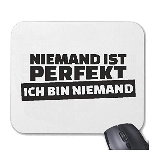 Helene Mousepad (Mauspad) NIEMAND IST PERFEKT - ICH Bin NIEMAND - JUNGGESELLENABSCHIED - Fun Shirt - Party - Stimmung für ihren Laptop, Notebook oder Internet PC (mit Windows Linux usw.) in Wei - Bier Bin