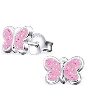 GH1a Babyrosa Glitzer Schmetterling Ohrstecker 925 Sterling Silber Ohrringe Mädchen Kinder