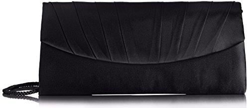 Paco Mena Basic 99630 Damen Clutches 26x12x5 cm (B x H x T), Schwarz (Schwarz 01) (Abend Schwarze Tasche)
