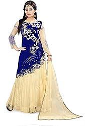 Fabcartz Solid Net Lehenga Choli Dupatta Set (FabC_9_Beige Blue_Free Size)