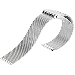 UEETEK 20mm Adjustable Ultra-thin Stainless Steel Mesh Watch Band Strap (Silver)