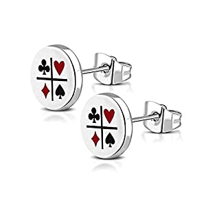 BlackAmazement 2er Set Ohrstecker 316L Edelstahl Poker Karten Farben Zocker Lucky 8mm Silber Herren