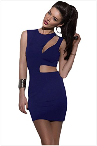meinice asimmetrica ritaglio Sexy Mini Vestito Club Blue Large