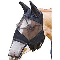 Umiwe - Máscara de mosca para caballo (malla fina, máscara de mosca con orejas y extensión de la nariz, duradera y desmontable, malla de la nariz de cara completa, con protección UV, capucha y velo, M