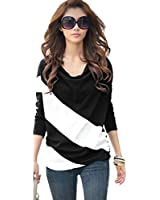 Hee Grand Women Color-Contrasted Loose T-Shirt Long Sleeve M Black