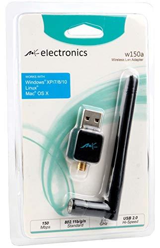 MK electronics® WLAN USB Adapter 150-mbit | High Speed Mini Wi-Fi Stick | Windows, Mac und Linux | Externe Antenne, high gain