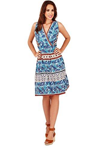 Pistachio Floral Femmes Coton Croisé Col V Avant En Enveloppe Robe Blue - Paisley Floral