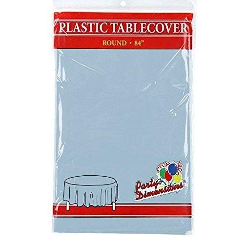 Party Dimensions Runde Kunststoff-Tischdecke - Premium Qualität Einweg-Party-Tischdecken für Partys und Veranstaltungen, 213,4 cm, plastik, hellblau, 8 Stück