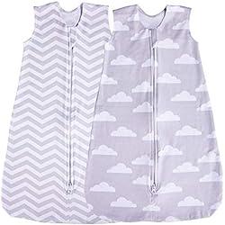 Jomolly Lot de 2 gigoteuses pour bébé (nuage/chevron) gris Cloud/Chevron 0-3 mois
