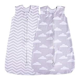 Saco de dormir para bebé, paquete de 2 mantas, verano (nube/Chevron) (0-3 meses)