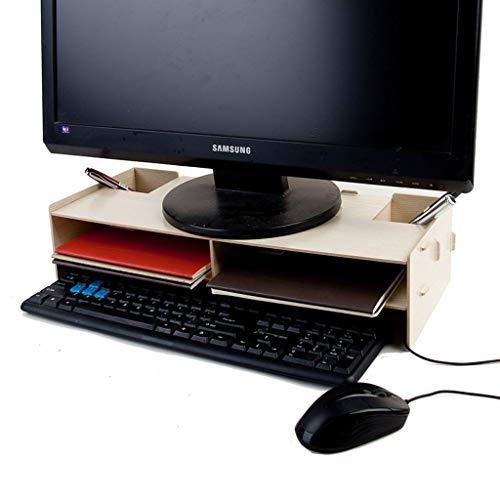 HKPLDE Monitorständer Holz/Stabiler Ergonomisches Tischaufsatz Schnelle Installation mit Stauraum Bildschirmerhöhung Bildschirm-Eiche Farbe -