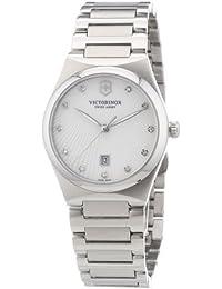 Victorinox Swiss Army Classic Victoria 241535 - Reloj analógico de cuarzo para mujer, correa de acero inoxidable color plateado (agujas luminiscentes)