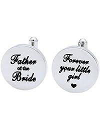 Melix Home Geschenke für ihn Vater der Braut Manschettenknöpfe, Forever Your Little Girl Edelstahl Manschettenknöpfe Geschenk für Vater von Tochter