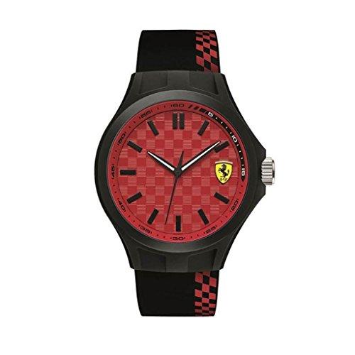 Scuderia Ferrari Herren Datum klassisch Quarz Uhr mit Silikon Armband 830325
