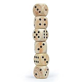Ocean 5 Set di dadi giganti in legno XXL Dadi da gioco Jumbo 6 cm x 6 cm, 6 pezzi gioco di società outdoor giocattolo di legno, per tutti i giochi di dadi, per grandi e piccini