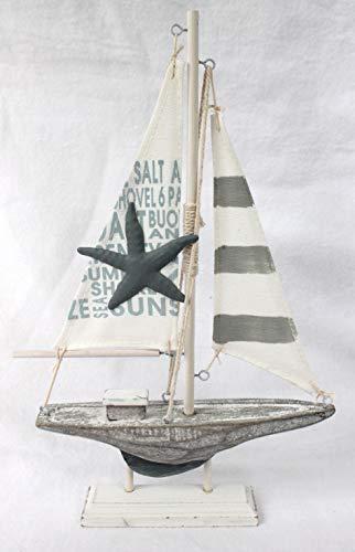Schiffsmodelle Segelboot Holz Textil 31 x 18,5 x 3,5 cm Shabby Landhaus Dekoration
