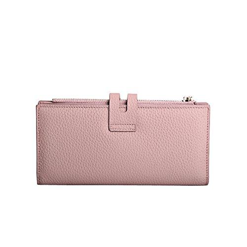 Yvonnelee Delle donne del cuoio genuino portafogli borsa esclusiva Long Bifold cassa Pink