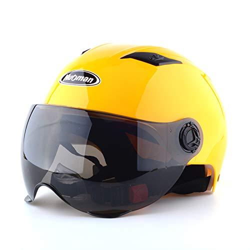 HSKS Yellow Motorradhelm, Männer und Frauen Vier Jahreszeiten Anti-Fog-Doppelspiegel Halbsturzhelm Sommer warm und volle Deckung Sicherheit