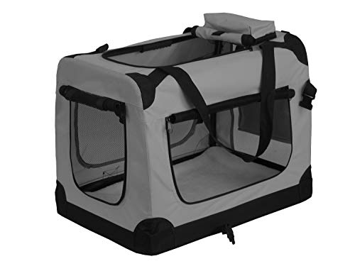weico Hundebox Transportbox Auto Hundetransportbox faltbar Katzenbox Katzentransportbox Oxford Gewebe Tragetasche Hund Katze Haustier, (XL = 81 x 58 x58, grau)