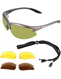 Rapid Eyewear Polarised GOLF SUNGLASSES for Men & Women with Interchangeable Green Mirror, Polarised & Low Light Lenses - Also Cricket & Tennis Glasses. UVA / UVB (UV400) PROTECTION