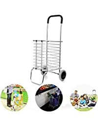 ORPIO (LABLE) Aluminum Folding Portable Shopping Grocery Basket Cart Trolley With Wheel (Silver)