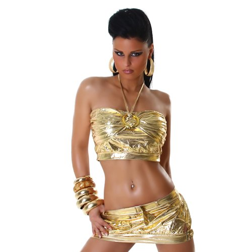 Sexy GoGo Set Rock + Top im Leder-Wet-Look Einheitsgr. 32-36 Gold