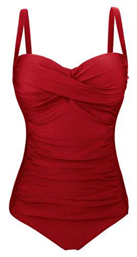 Aixy Vintage Retro Halter Strap Badeanzug Einteiler Bademode Ruched Monokini Badeanzüge Ein Stück (ASSY057-W3-5XL) Wein Rot (Einem Stück Badeanzug)