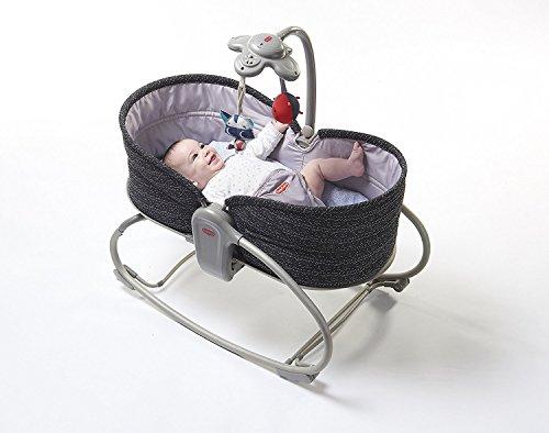 Tiny Love Cuna balancín convertible con móvil para bebe 3 en 1 (función de vibración y música) Negro /gris