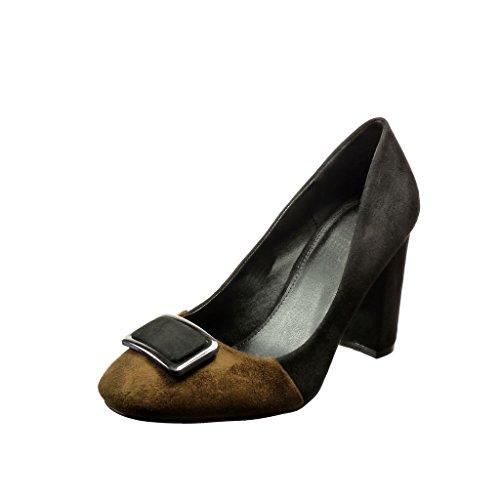 Angkorly - Scarpe Moda scarpe decollete bi-materiale da sera donna fibbia  Tacco a blocco
