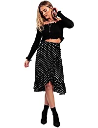 df4b19cb579 MISSI LONDON New Women s Ladies Girl s Polka Dot Frill Wrap Casual Midi  Skirt (Black