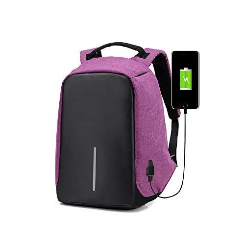 JYQSM Laptop Rucksack, Atmungsaktiver Business Laptop Rucksack Mit USB Ladeanschluss 16 Zoll Computer Rucksack,Purple