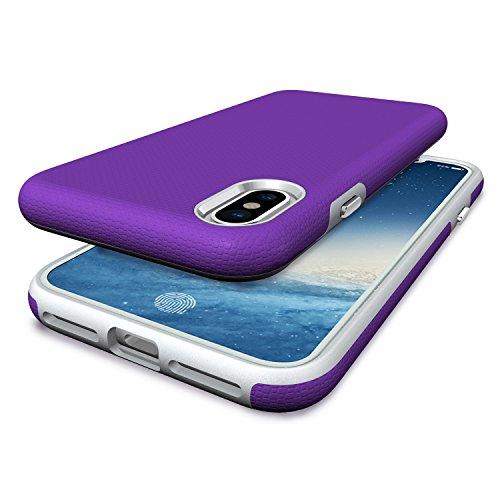 Apple iPhone X Schutzhülle,ultradünn TropfsSchutz Erschütterungs-Resistent Hybrid Doppelschicht Erschütterungsschutzhülle das für iPhone X Abdeckungshülle (Lila) Lila