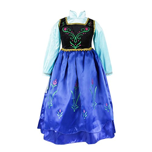 UK ELSA & ANNA® Girls Party Outfit Fancy Dress Snow Queen Princess Halloween Costume Cosplay Dress (5-6 years, UK-SEP308)