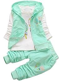 Ropa Bebé, Manadlian Traje de Ropa Para Niños Camiseta + Chaleco Encapuchado + Pantalón Trajes