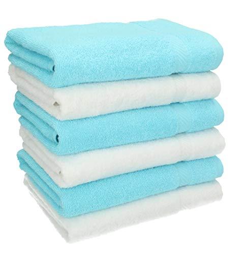 BETZ Lot de 6 Serviettes de Toilette Taille 50x100 cm 100% Coton Palermo Couleur Blanc et Turquoise