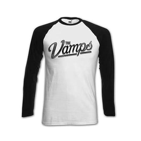 The Vamps Women's McVey Raglan Baseball Long Sleeve T-Shirt, White,
