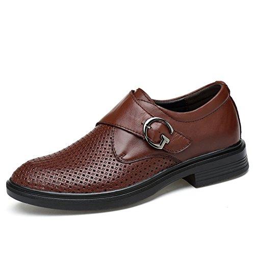 ailishabroy Männer echtes Leder Oxfords Männer Sommer Hollow Breathable Uniform Kleid Schuhe Herren Formal Business (47 EU, Braun)