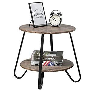 Couchtisch Beistelltisch Klein Rund Wohnzimmertisch Vintage 2 Ebenen Modern Industriell Nachttisch für Schlafzimmer Sofatisch Holz Metall Braun