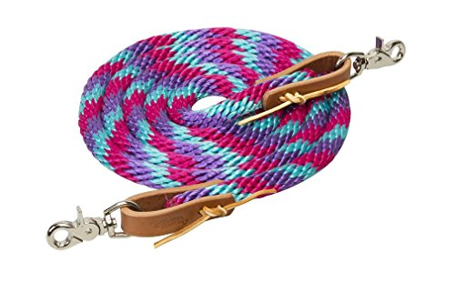 Weaver Leder Poly Roper Zügel, Bright Rose/Violet/Turquoise (Roper Leder)